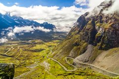 Morning fog over the Death Road in the Yungas of Bolivia Royalty Free Stock Photos