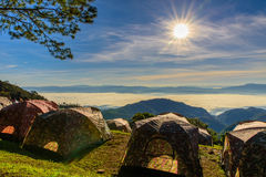 View of morning mist and sun rise at Doi Ang Khang mountain one of the famous mountains in Chiangmai Stock Photography