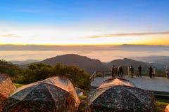 View of morning mist and sun rise at Doi Ang Khang Stock Image
