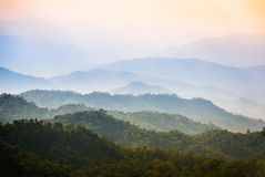 View of Morning Mist at Tropical Mountain Range Royalty Free Stock Photos