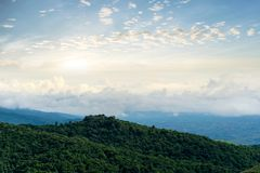 View morning mountain sky and fog. Phu tubberk thailand Stock Images