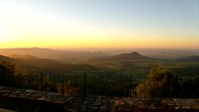 View through morning to sunrise and deep valley below stock video footage