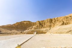 Mortuary Temple of Hatshepsut, Egypt. View on Mortuary Temple of Hatshepsut from the entry point, Egypt royalty free stock photo
