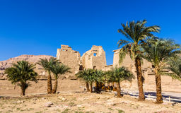 View of the mortuary Temple of Ramses III near Luxor Stock Photos