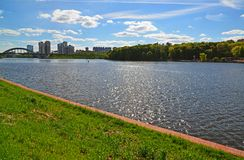 View of Moscow Canal in Khimki, Russia Royalty Free Stock Images