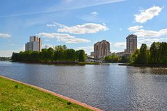 View of Moscow Canal in Khimki, Russia Royalty Free Stock Photo
