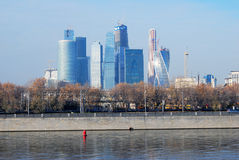 View of Moscow City Business Center. The Moscow river embankment. Stock Photos