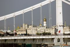 View of Moscow city center and its famous landmarks. Kremlin, Krimsky Crimean bridge. Sunny day Stock Photo