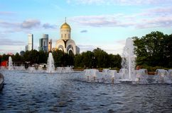 View of Moscow City and the Church of St. George the Victorious. Stock Images