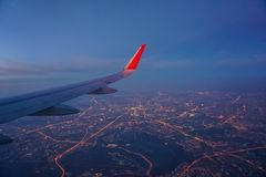 View of Moscow night city lights from a Plane Window stock photography