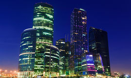 View of Moscow City's skyscrapers at night Royalty Free Stock Images