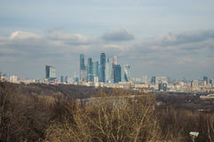 View of the Moscow City from Sparrow Hills, Moscow, Russia Stock Photo