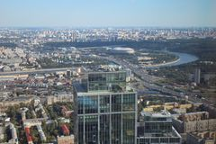 The view of Moscow from the Federation tower. The Federation Tower is a complex of two skyscrapers built on the 13th lot of the Moscow International Business royalty free stock image