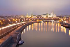 View of the Moscow Kremlin and Big Stone Bridge. Russia Stock Images