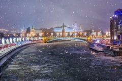 View of Moscow Kremlin and Bolshoy Kamenny Bridge from Patriarshy Bridge at night in winter. Moscow. Russia. View of Moscow Kremlin and Bolshoy Kamenny Bridge royalty free stock photos