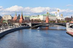 View of the Moscow Kremlin and Bolshoy Kamenny Bridge. Moscow. Russia. View of the Moscow Kremlin and Bolshoy Kamenny Bridge from Patriarshy Bridge. Moscow royalty free stock photo