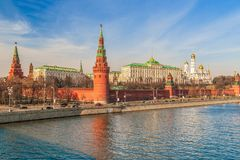 View of the Moscow Kremlin from Bolshoy Kamenny Bridge.Moscow.Russia royalty free stock photos