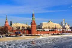 View of the Moscow Kremlin from Bolshoy Kamenny bridge stock photography