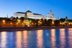The view of Moscow Kremlin at dusk Royalty Free Stock Images
