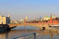 View of Moscow Kremlin from the Floating bridge over the Moskva River on a sunny spring morning Stock Photography
