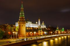 View of Moscow Kremlin with illumination at night stock photos