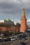View of the Moscow Kremlin and Kremlevskaya quay. In spring Stock Photos
