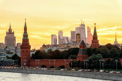 View of Moscow Kremlin and Moscow-city at sunset Royalty Free Stock Photography