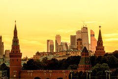 View of Moscow Kremlin and Moscow-city at sunset Stock Photography