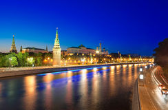 View of the Moscow Kremlin and Moskva river at nig. Ht. Shot from the Big Stone Bridge. Moscow, Russia Royalty Free Stock Photos