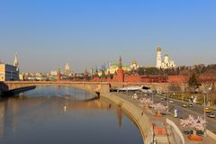 View of the Moscow Kremlin and Moskva River embankment on a sunny spring morning Stock Image