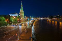 View of the Moscow Kremlin and Moskva River at night. Shot from Stock Photography