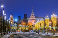 View of the Moscow Kremlin with New Year`s illumination. In the winter morning Royalty Free Stock Photography