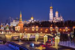 View of the Moscow Kremlin with New Year`s illumination. In the winter morning Royalty Free Stock Image