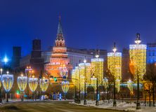 View of the Moscow Kremlin with New Year`s illumination. In the winter morning Royalty Free Stock Photo