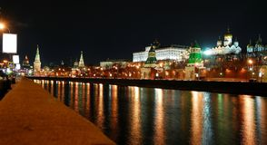 View of the Moscow Kremlin at night. Moscow, Russia royalty free stock images