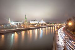 View of the Moscow Kremlin at night. Russia Royalty Free Stock Photography