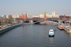 View of the Moscow Kremlin over the Moscow river Royalty Free Stock Images
