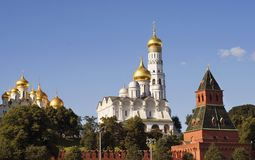 View of the Moscow Kremlin, a popular touristic landmark. UNESCO World Heritage Site. Color photo stock image