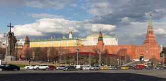 View of the Moscow Kremlin and Prince Vladimir monument. From the Borovitskaya square in spring Stock Photography