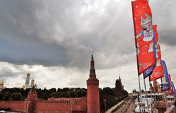 View of Moscow Kremlin, the Red Square and official banners of FIFA world cup 2018. Color photo Royalty Free Stock Photo