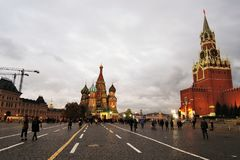 View of Moscow Kremlin and Saint Basils cathedral Stock Photography