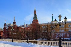 View of the Moscow Kremlin and State Historical Museum from Manege square Royalty Free Stock Photos