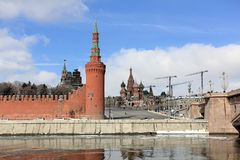 View of the Moscow Kremlin, Vasilyevsky Spusk Vasilyevsky Descent and St. Basil`s Cathedral from the Sofia Embankment stock image