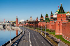 View on Moscow Kremlin Wall and Moscow River Embankment Royalty Free Stock Image