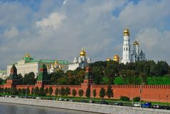 View of  the Moscow Kremlin Wall from the river. Grand Kremlin Palace and the Ivan the Great Bell from the river Royalty Free Stock Photos