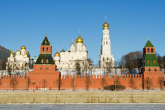 View on Moscow kremlin in winter. Winter view on Moscow's kremlin across the frozen river Stock Images