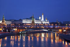View of the Moscow Kremlin in the winter night. Russia Stock Photography