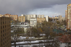 View on Moscow modern houses roofs Stock Images