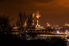 Moscow Panorama at Night stock photography