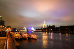 View of the Moscow at night with waterfront Stock Images